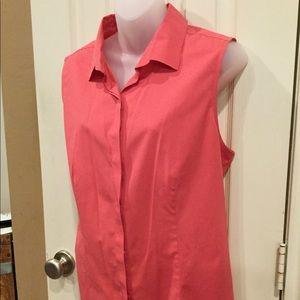Talbots sleeveless coral blouse. Sz 16.